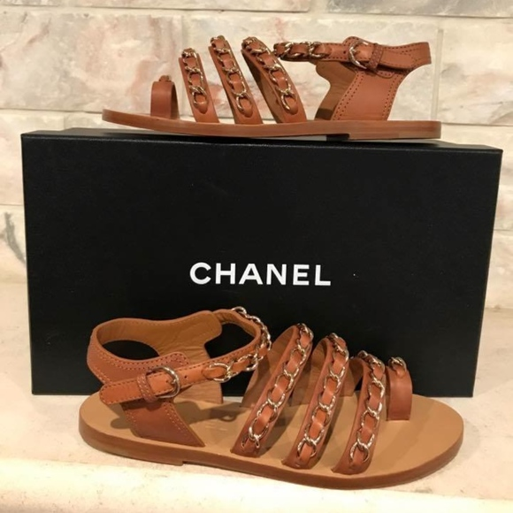 c54c0502312 Chanel 17C Brown Beige Chain CC Gladiator Strap